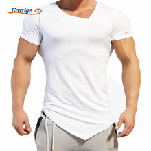 Covrlge T-shirt Men 2017 Fashion V Neck Men's T-shirts Cotton Solid Fitness Men Tee Shirt Brand-clothing Big Size Tops MTS382
