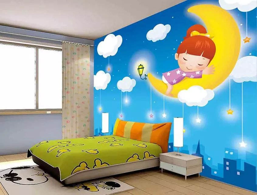 Children 39 s park mural big dream green wallpaper cartoon for Child mural wallpaper