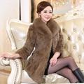 2016 high quaity new winter women fox fur collar rabbit fur coat slim thick large size elgent luxury rabbit fur coat m-xxxxxl