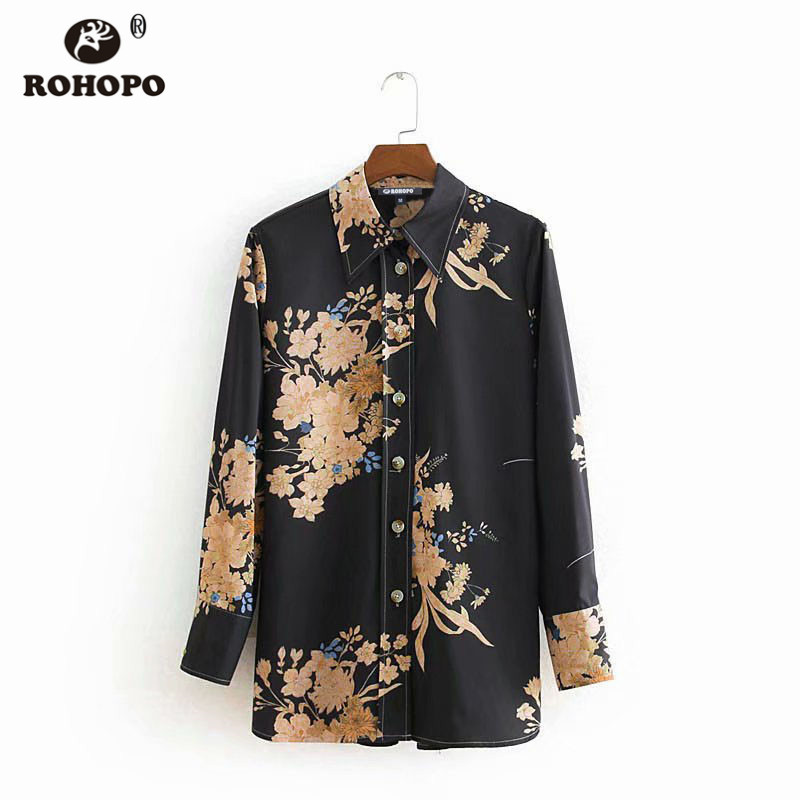 ROHOPO Women Autumn Long Sleeve Floral Black Blouse Buttons Fly Turn Down Collar Button Sleeve Retro Top Shirt CW8949 in Blouses amp Shirts from Women 39 s Clothing