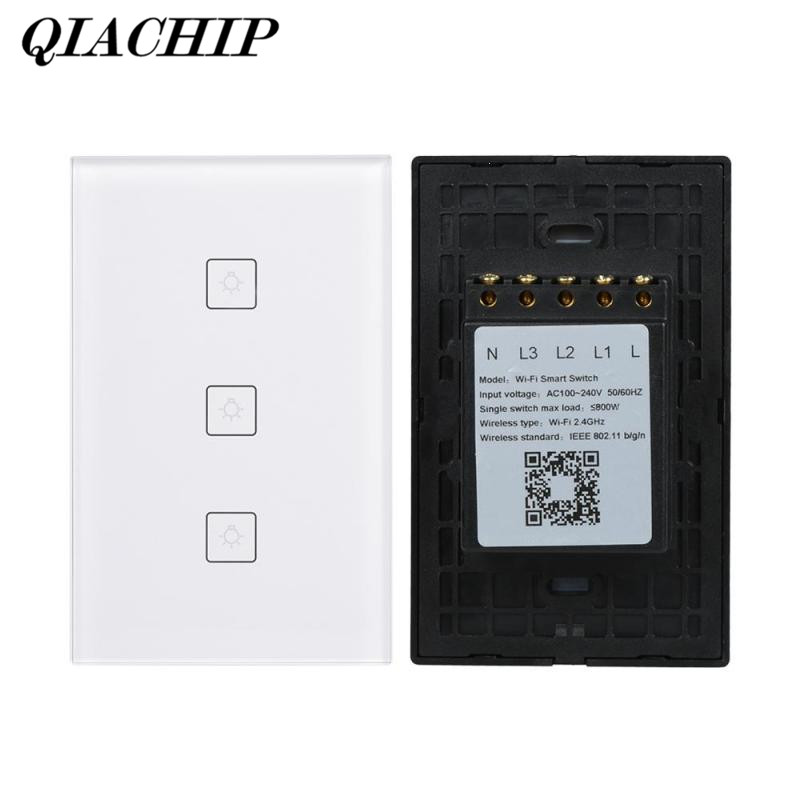 QIACHIP WiFi Switch Smart 3CH Light Wall Switch APP Remote Control Work with Amazon Alexa Glass Panel Google Voice Control DS25 wireless wifi switch smart home automation module timer diy light wall switch app control work with amazon alexa voice control