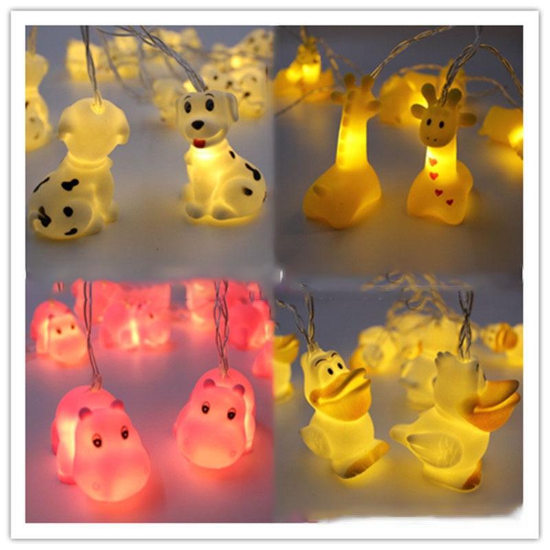 Duck/Dog /Giraffe/ Hippo Night Lamp Christmas Garland Fairy String Lights For Kid Children's Room Party Wedding Decoration