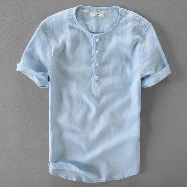 398c9da79d4f916 Итальянская брендовая мужская льняная рубашка с коротким рукавом, мужская  летняя однотонная льняная рубашка, мужская