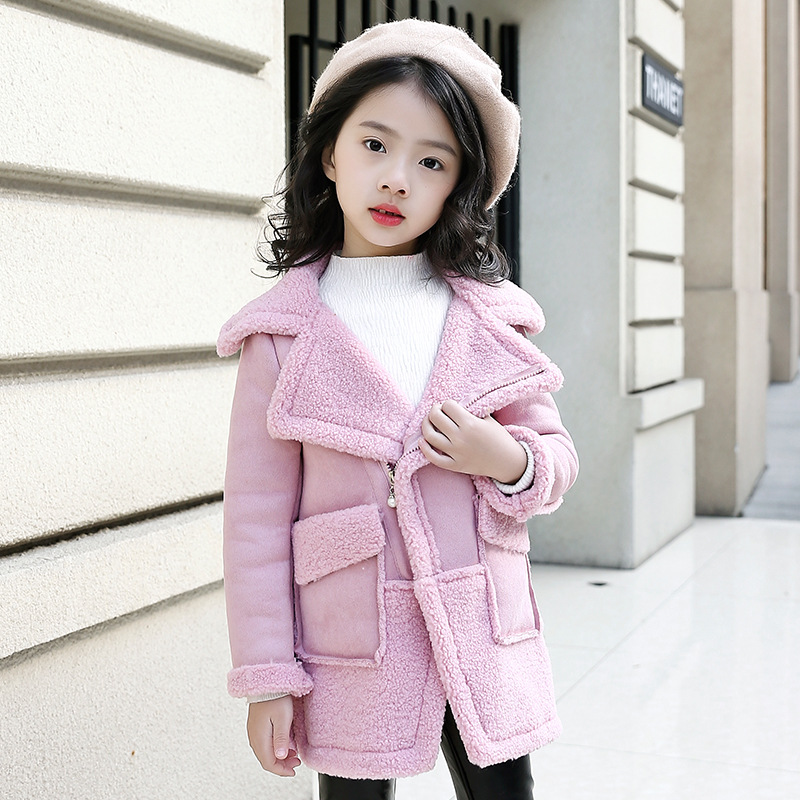 2018 Girls Woolen Coat Size 4 6 8 10 to 12 Years Long Sleeve New Yellow Kids Keep Warm Clothes Kids Girls Cardigan Jacket 5A13A 4 to 12 years kids