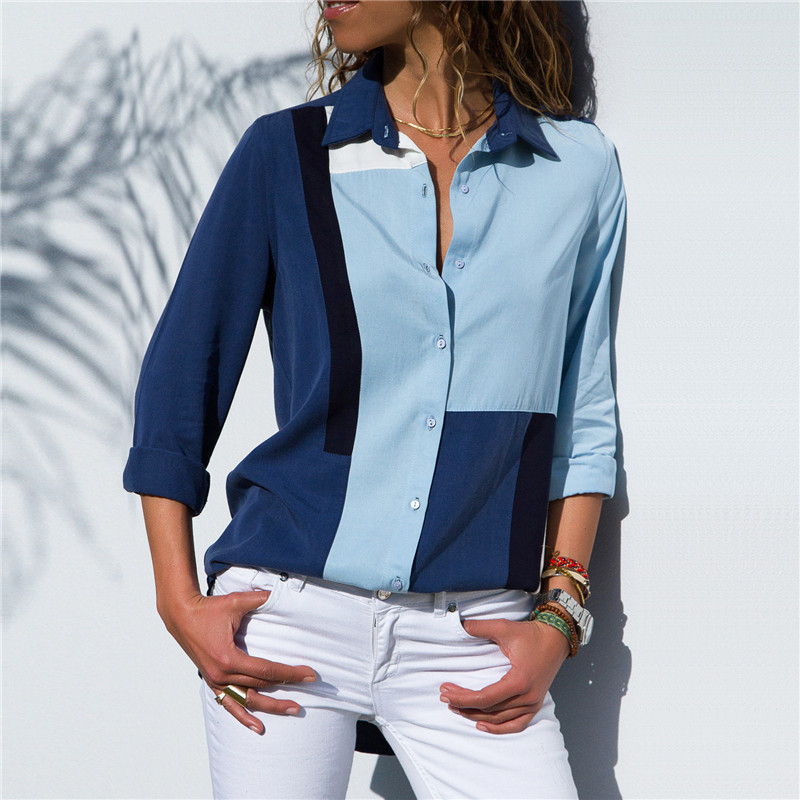 Women Blouses Fashion Long Sleeve Turn Down Collar Office Shirt Leisure Blouse Shirt Casual Tops 19