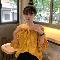 2 Colors Mihoshop Ulzzang Korean Korea Women Fashion Clothing Boat Neck Bow Casual Loose Yellow Shirt
