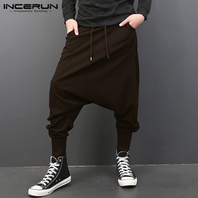 5a2b7b2bf1 INCERUN 2018 New Men Elastic Waist Pants Drawstring Low Drop Crotch Hiphop  Harem Joggers Sweatpants Pants Plus Size S-5XL
