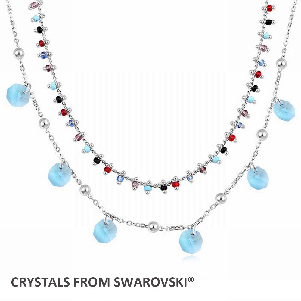 2016 Hot sale design for Mothers Day gift double layer charm necklace with 100% Genuine Crystals from Swarovski