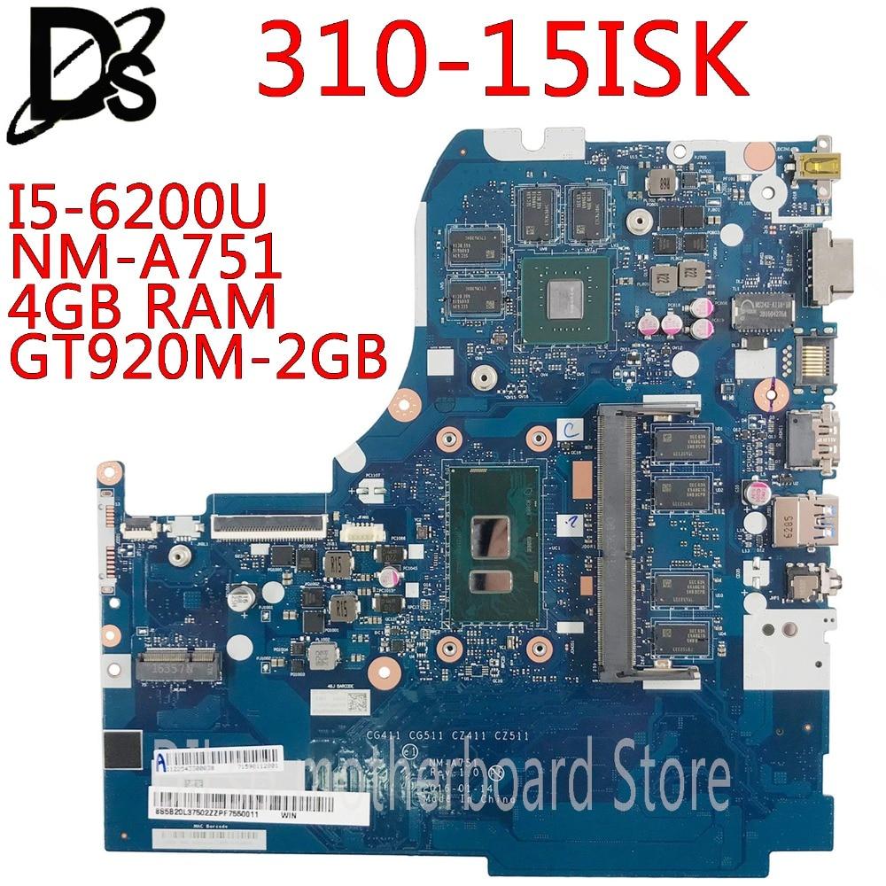 KEFU NM-A751 Motherboard For Lenovo 310-15ISK 510-15ISK Laptop Motherboard For I5-6200U 4GB RAM GT920M-2GB Test OK