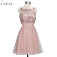 Beautiful Heavy Beaded Crystal Short Prom Dresses 2018 Sexy Backless Party Dresses Knee Length Prom Gown vestido de festa