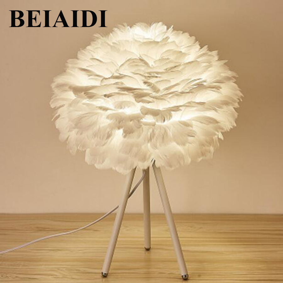 BEIAIDI Romantic Feather Lamp E27 Table Light Baby Kids Children Bedroom Bedside Lamp Modern Decoration Table Lamp For Girl GiftBEIAIDI Romantic Feather Lamp E27 Table Light Baby Kids Children Bedroom Bedside Lamp Modern Decoration Table Lamp For Girl Gift