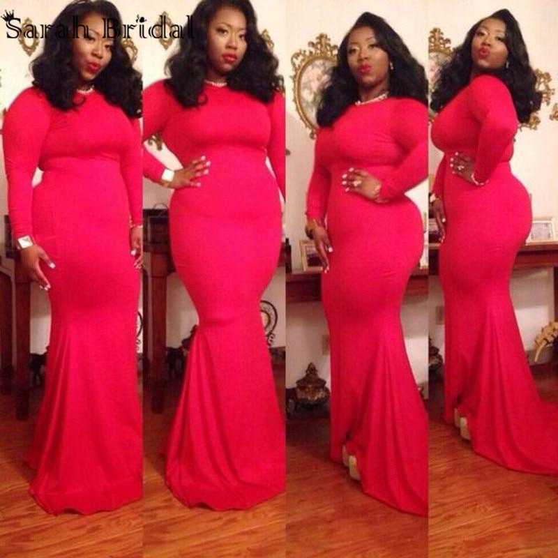 Long Sleeve Plus Size Muslim Evening Dresses Red O Neck Mermaid Long