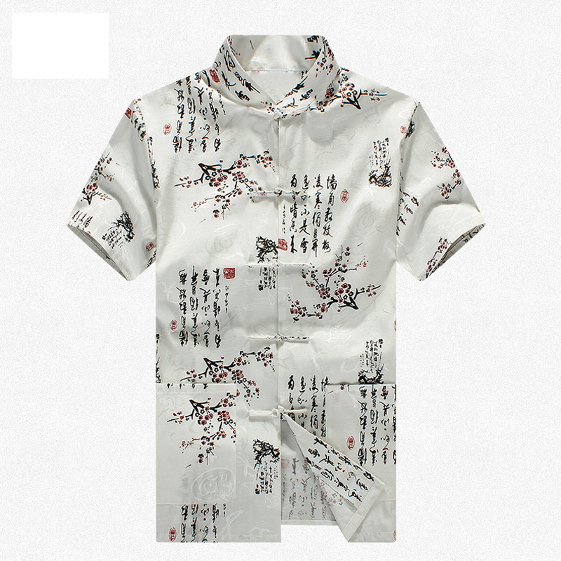 Белый 100% хлопок Новое поступление китайские традиционные мужские кунг фу рубашки Топы M L XL XXL 3XL MS2015017