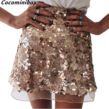 Cocominibox Women's Sequins Mesh Mini Skirt High Waist Party Beach Bodycon Streetwear