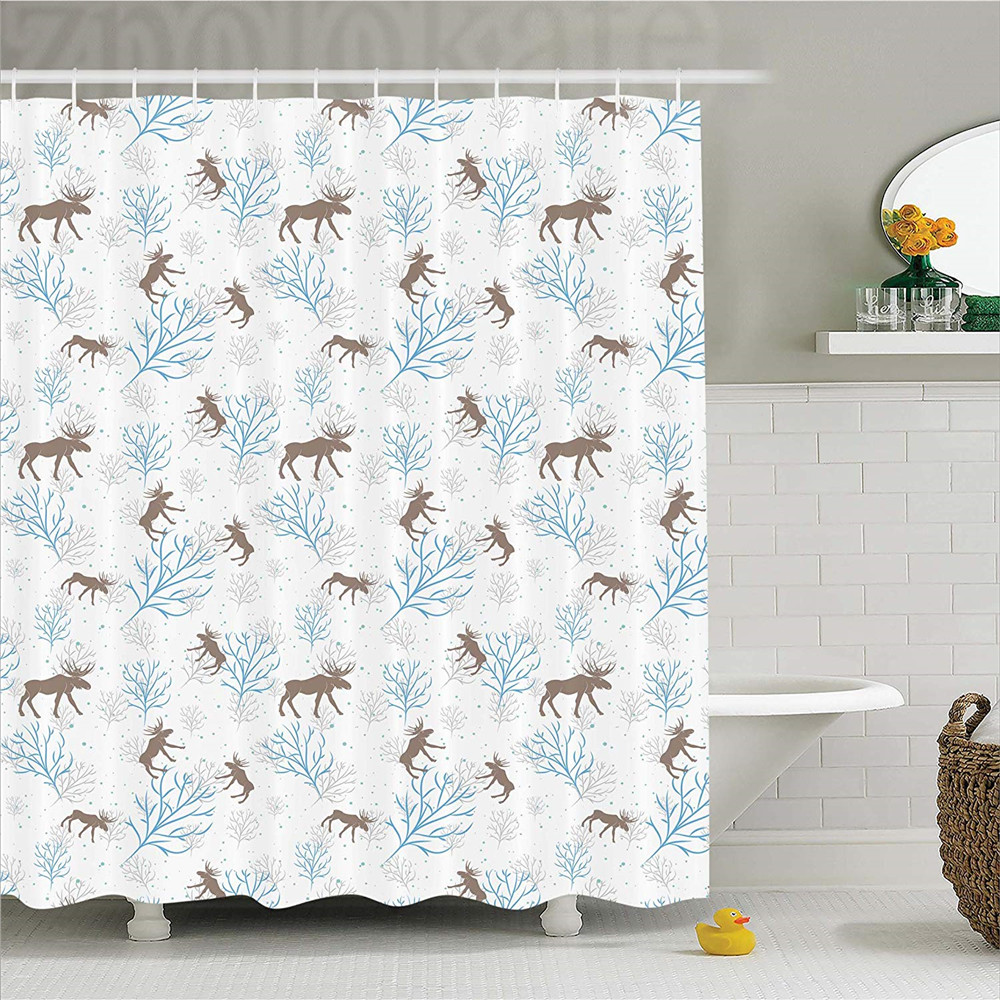 Moose Decor Shower Curtain, Winter Forest Retro Illustration with Reindeer and Trees Sno ...