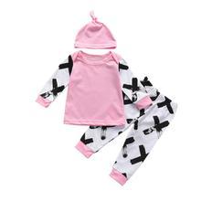 3pcs Baby Boy Girls Kids Clothes Sets Cartoon Newborn Infant Hat Patchwork GeometricTops Outfit Clothing Set 3 6 9  Monthes