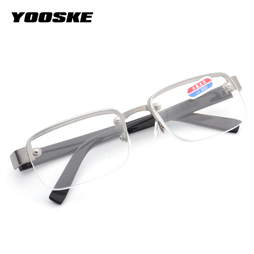 Yooske Rimless Classic Style Glass Lenses Reading Glasses Plain Mirror Men Women Unisex Eyewear Pretty And Colorful Men's Reading Glasses