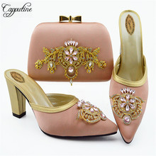 Capputine High Quality Decorated With Rhinestone Shoes And Bag Set Italian Design Matching Shoes And Bag Set For Wedding Party