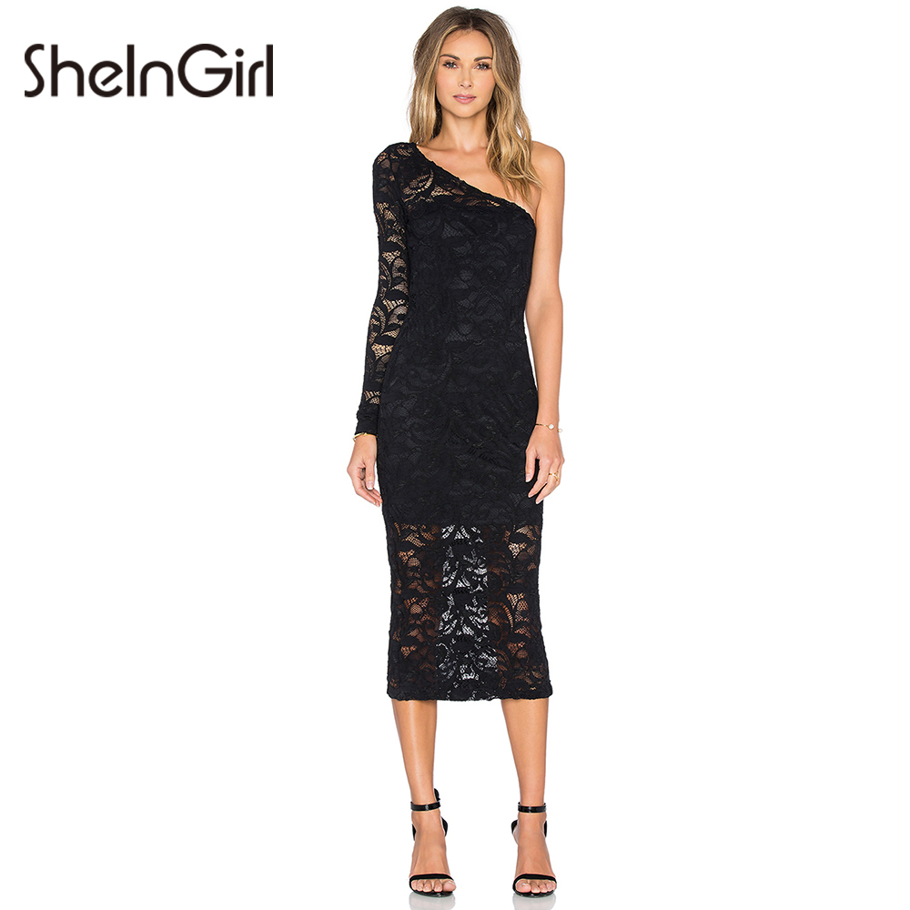 City shoulder lace and dress one taffeta bodycon