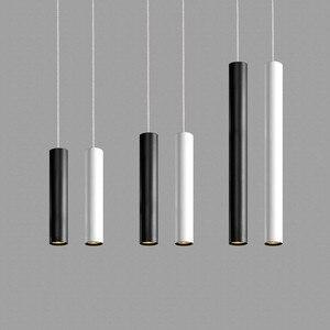 Image 2 - [DBF]LED الحديثة قلادة ضوء أنبوب طويل ثرية سوداء مصباح جزيرة بار كونتي متجر غرفة ضوء مطبخ تركيبات hanglamp الإنارة