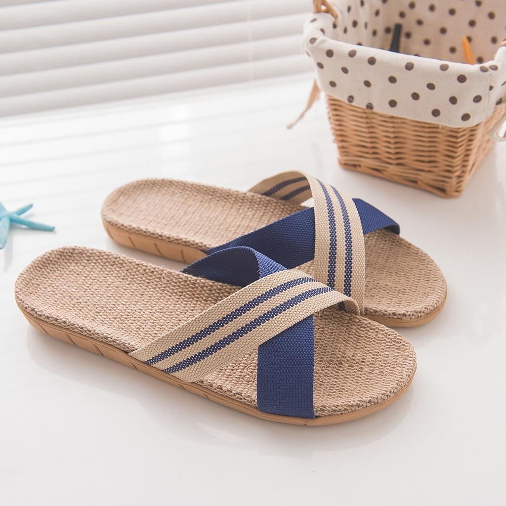 Обувь мужские Нескользящие льняные тапки для дома помещений с открытым носком на плоской подошве пляжные летние шлепанцы повседневные льняные шлепанцы zapatos de hombre - Цвет: Blue