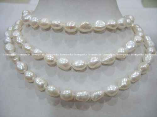 "100% Selling full 50"" 8-10mm white baroque freshwater pearl necklace wholesale nature bead"