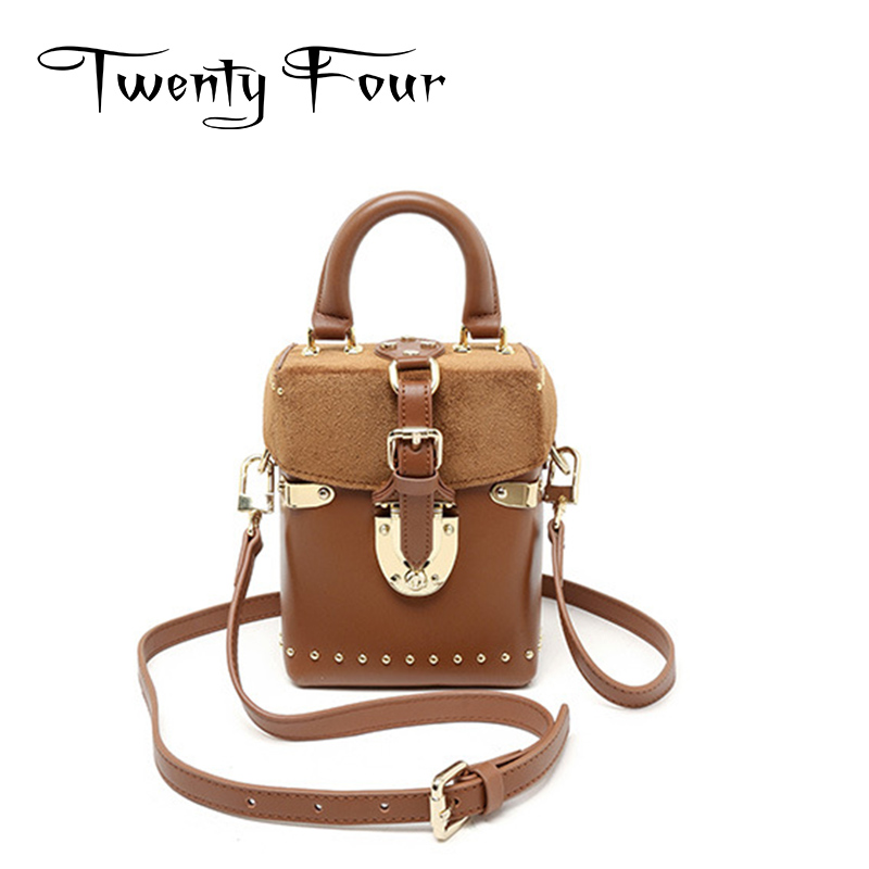ФОТО Twenty-four Genuine Leather Female Handbags Ladies Trunk Vintage Style New Women Crossbody With Hard Handle Messenger Totes Bags