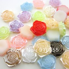 Free Shipping!200pcs 18mm mixed color flower Flatback ABS pearl beads for DIY decoration