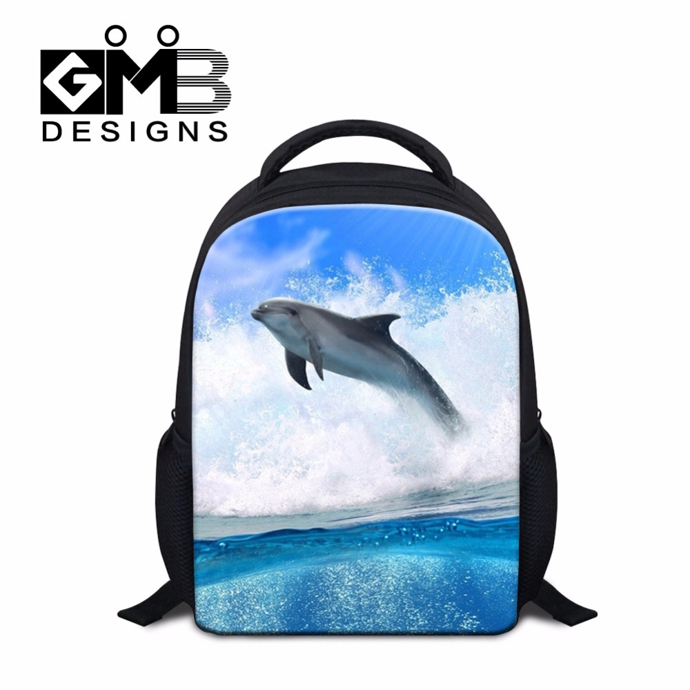 clear backpacks for kids side bookbags for girls Dolphin Printed rucksack book bags Lightweight Shark Back Pack small children