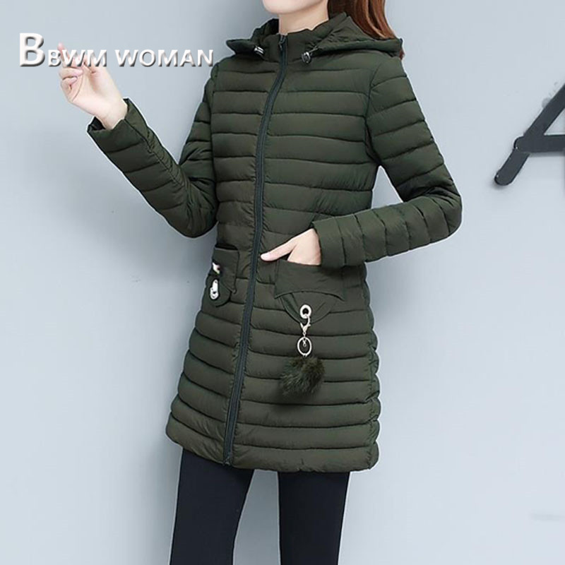 Black and Army Green Color Women   Parkas   2019 Winter Long Sleeve Warm Female Coat Jacket