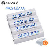 4 stücke AA batterie 1,2 V Qualität NI-MH Akku AA 3000mAh PALO Wiederaufladbare 2A Batterie Für Kamera aa batterie Ladegerät