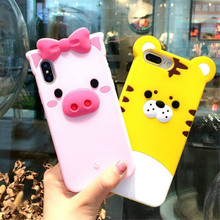 Cyato Luxury 3D Lovely Cartoon Tiger Pink Pig Case For iPhone 6 6S 7 8 Plus Silicone Rubber X 10 Cover Coque