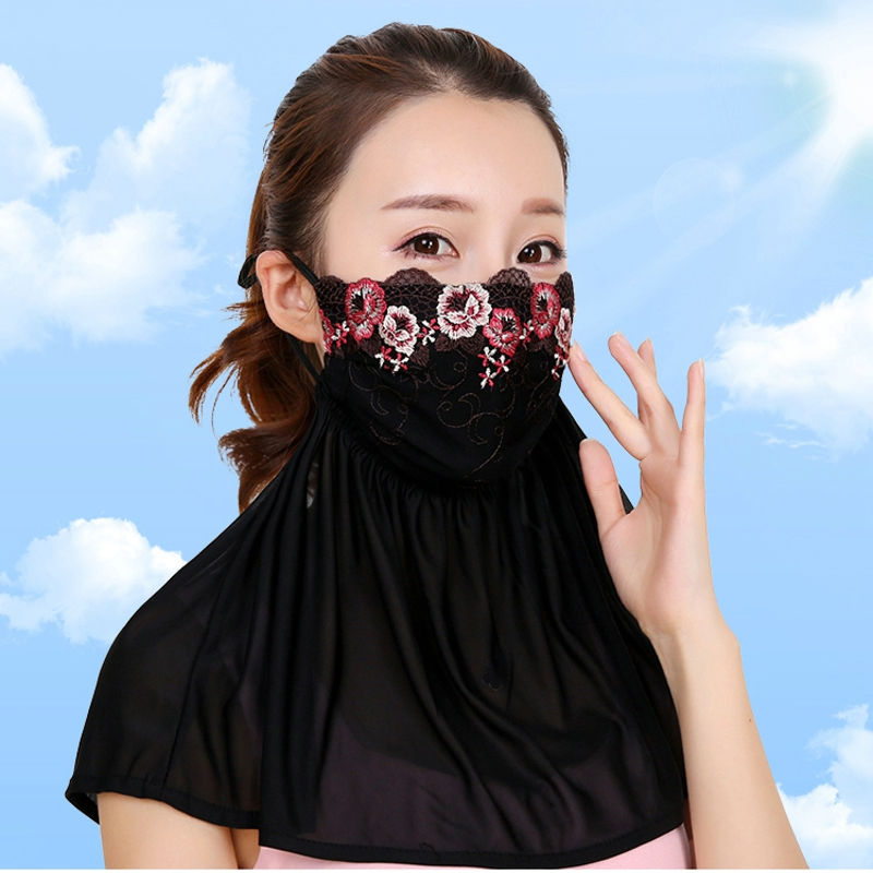 Summer Sunscreen Mask Outdoor Veil Uv Masks Girl Cover Face Neck Shade Shawls Lace Breathable Women Thin Section Visor