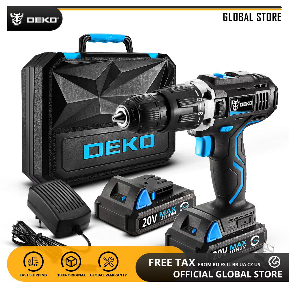 DEKO GCD20DU3 20V MAX Lithium Ion Power Driver Variable Speed Electric Screwdriver LED Impact Cordless Drill 2 Battery X Box BMC-in Electric Drills from Tools    1