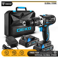 DEKO GCD20DU3 20V MAX Lithium-Ion Power Driver Variable Speed Electric Screwdriver LED Impact Cordless Drill 2 Battery X Box BMC