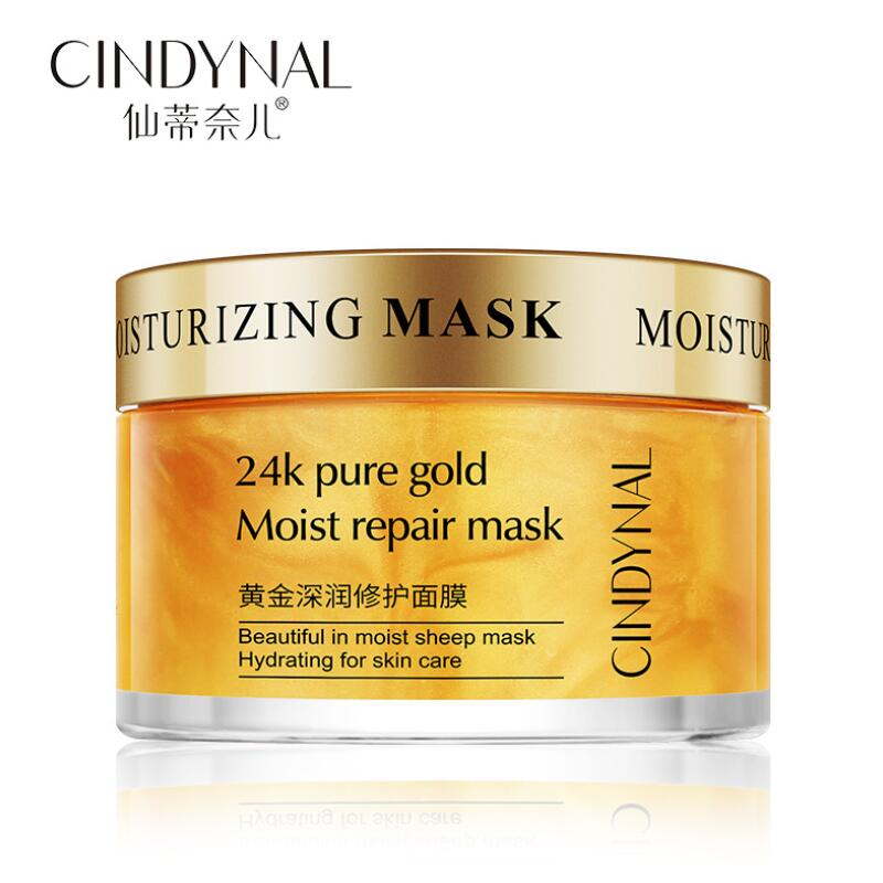 Mask For The Face Skin Care 24K Pure Gold Moist Repair Face Mask Hydration Moisturizing Shrink Pores Sleeping Mask