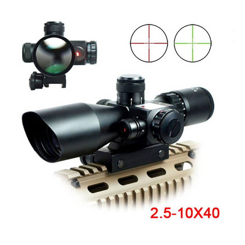 High Quality Military 2.5-10X40 Riflescope Illuminated Tactical Riflescope 11/20mm Mount Rail with Red Laser Scope Hunting Scope hot tactical riflescope 2 5 10x40 optics red laser holographic sight scope illuminated shooting hunting scope 11 20mm rail mount