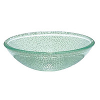 VT6032 Contemporary Tempered Glass Vessel Round Sink With Water Drain And Mounting Ring