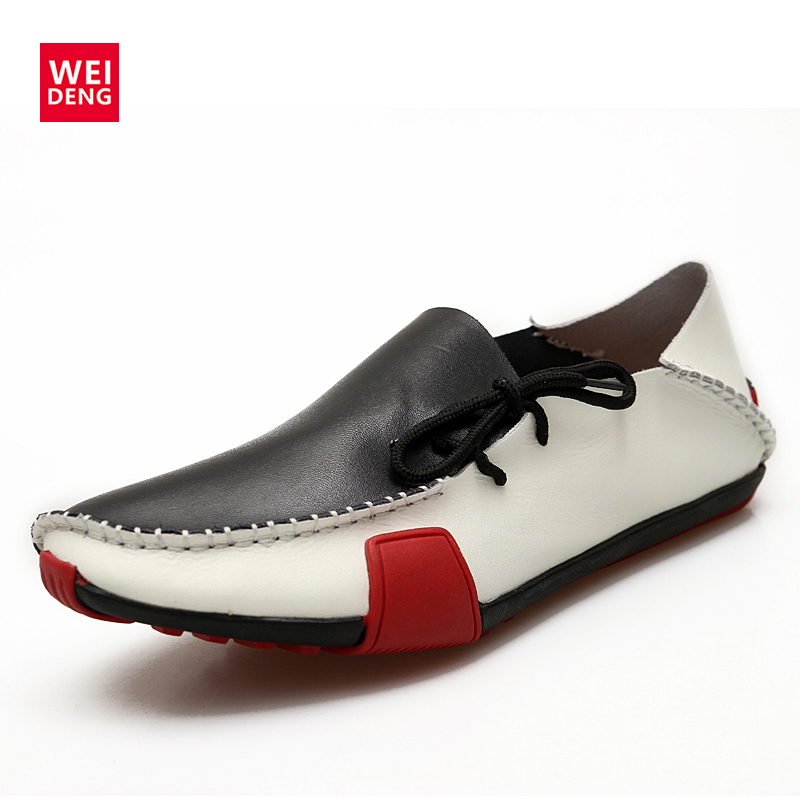 WeiDeng Men Casual Flat Shoes Sprint Boat Shoe Loafers Doug New Pattern   Leather   Male Fashion Drive   Leather   Super Soft Walk