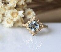 DUPUY 2018 Hot Sale Natural 6mm Cushion Cut Aquamarine Ring Vintage Floral Halo Diamond Gemstone Birthstone Ring Stackable Ring