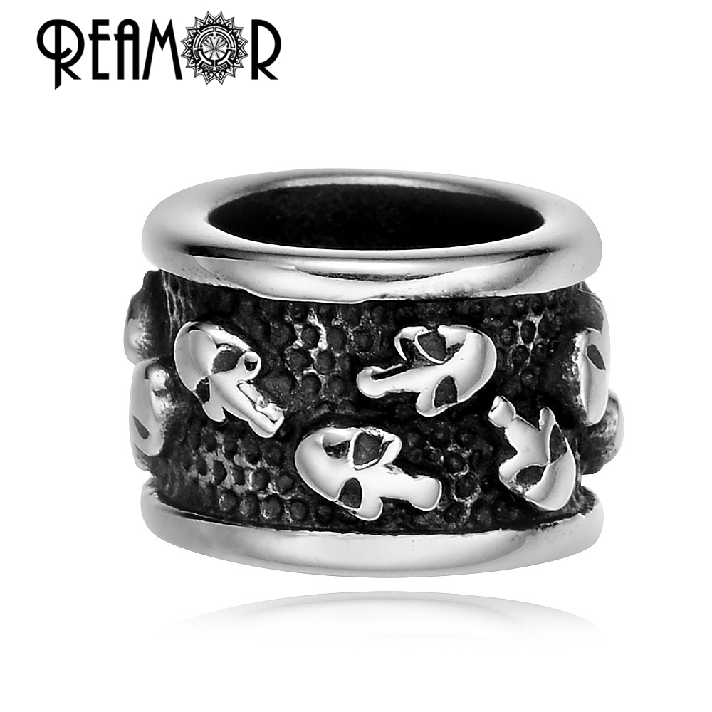 REAMOR 2017 Men 316L Stainless steel Skull Head Big Hole Spacer Beads for Jewelry Making DIY Charm Beads Wholesale for Bracelet