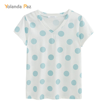 Yolanda Paz Fashion Polka Dot print women summer t-shirts high quality V-neck short sleeve brand ladies t shirt casual tops tees