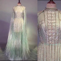 Luxury Sparkly Sequin long Dress Sexy chain long tail Female singer stage Dress Costume Prom Birthday Celebrate Rhinestone Dress