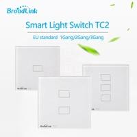Broadlink TC2 Estándar de LA UE 1 2 3 gang Interruptor de Pared Lámparas de Luz de Control Remoto a través de Móvil Broadlink RM pro, Cristal, domotica