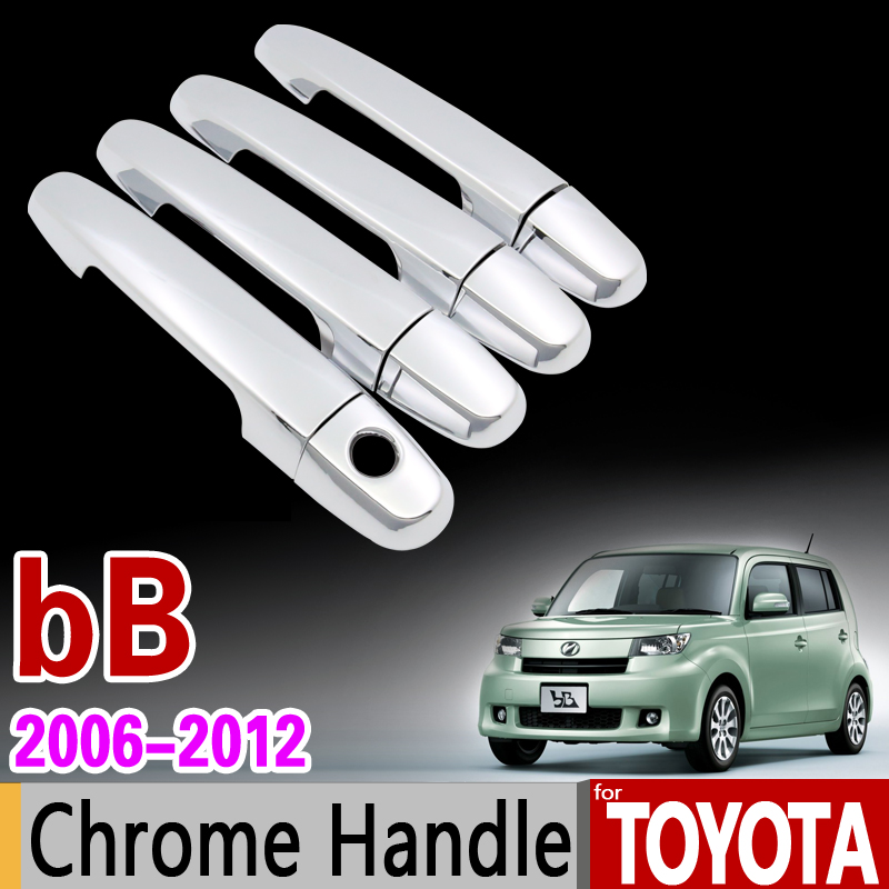 for Toyota bB 2006 - 2012 Chrome Handle Cover Trim for Daihatsu Coo Materia for Subaru Dex Stickers Car Styling 2007 2009 2011 abs chrome front grille around trim for ford s max smax 2007 2010 2011 2012