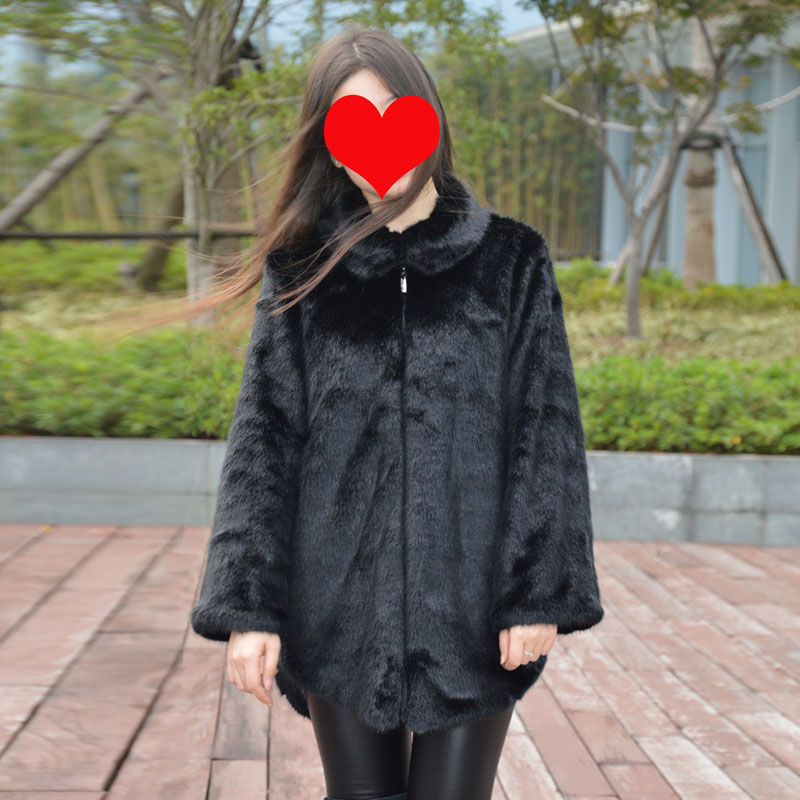 2017 Winter Casual Women Turtleneck Mink Fur Coat Plus Size 6XL ...