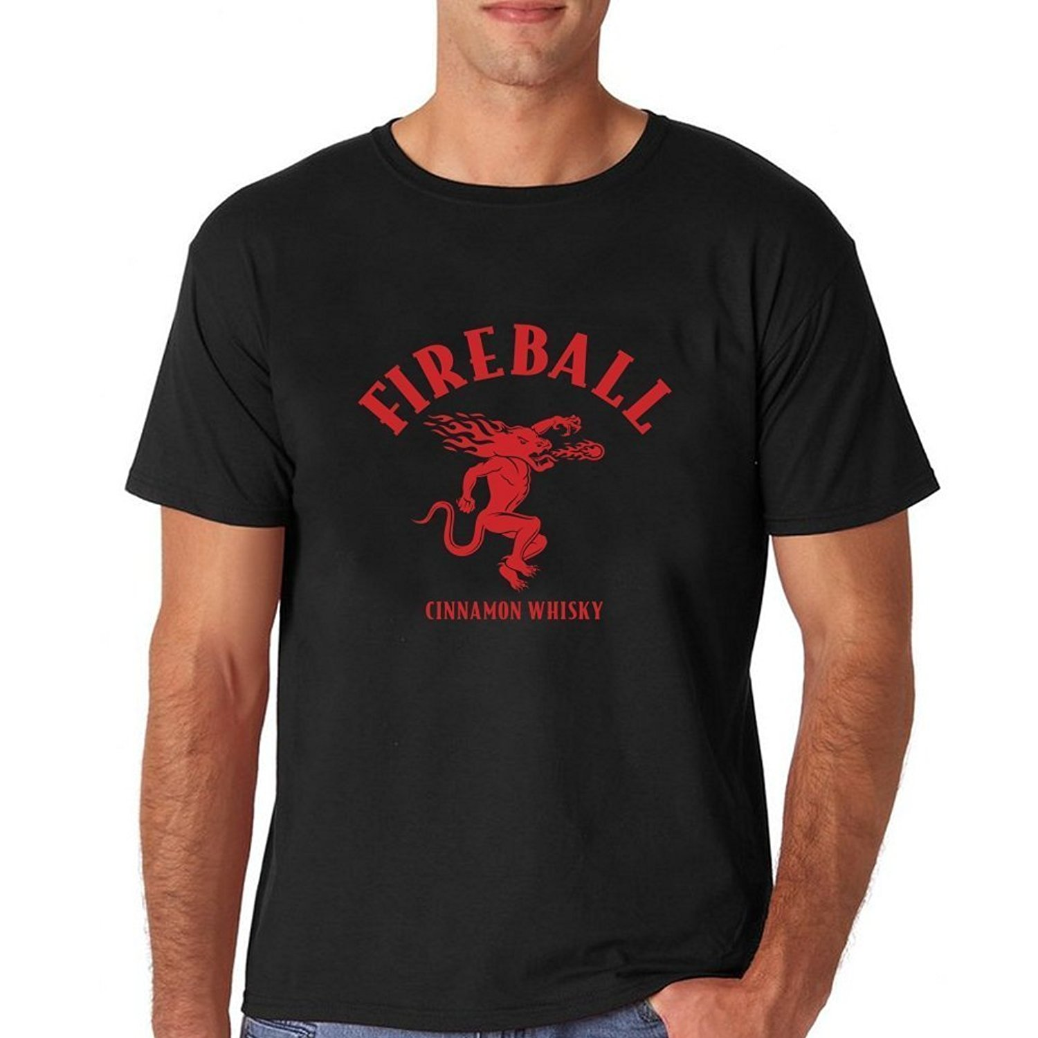 Gildan Tshirt Brand Male Short Sleeve Cool Casual Sleeves T-Shirt Fashion Fireball Whiskey Logo Short shirt for mens