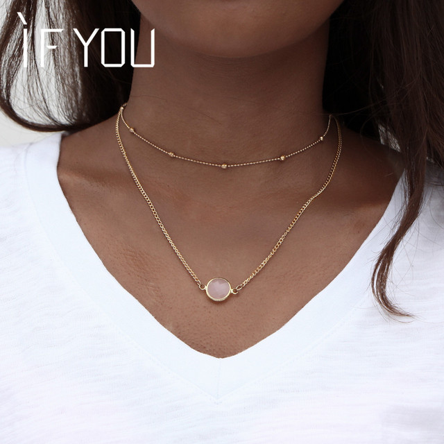 IF YOU Fashion 4 Colors Stone Double Layer Choker Pendant Necklaces For women Co