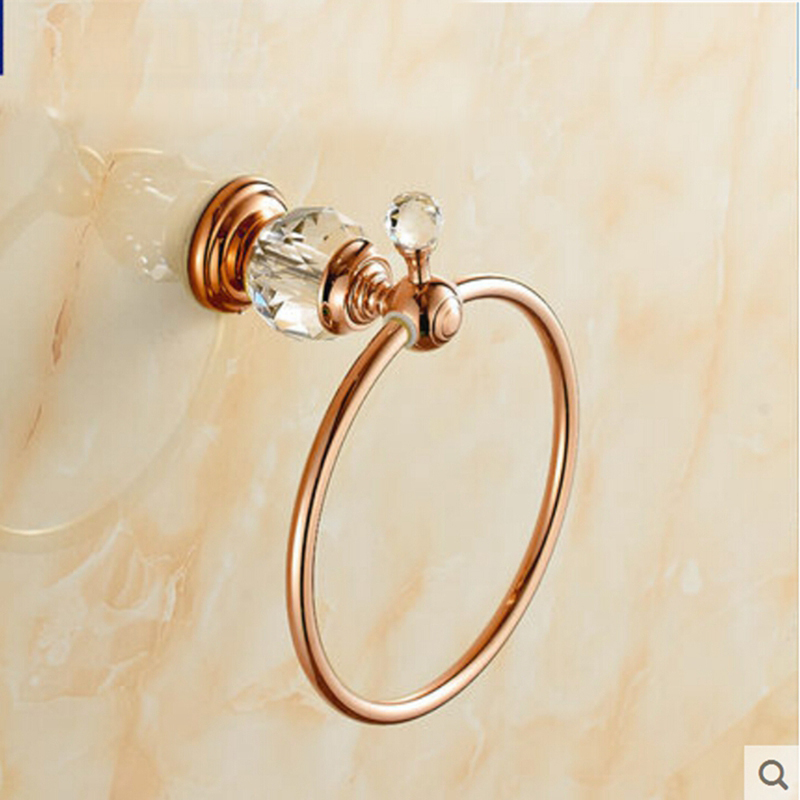 Rose Golden Wall Mount Round Ring Towel Rack Holder Towel Bar Hanger Crystal Bar fixmee 50pcs white plastic invisible wall mount photo picture frame nail hook hanger