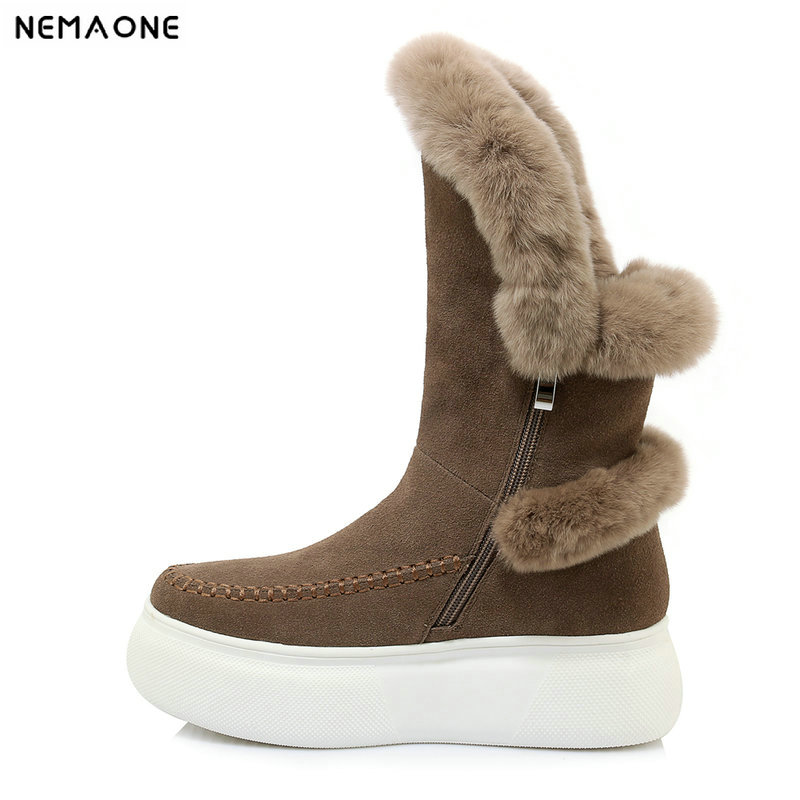 NemaoNe Real fur suede leather long winter snow boots for women mid-calf boots flats platform party shoes lady motorcycle boots real fox fur cow suede leather long winter snow boots for women over the knee boots flats party shoes lady motorcycle boots